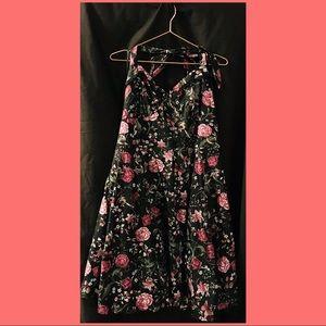 Retro black floral dress